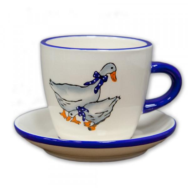 Gänseserie: Kaffee- oder Teetasse mit Untertasse