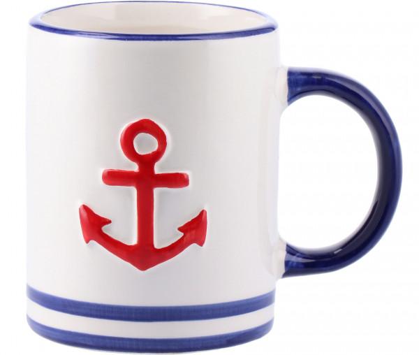 Tony Brown Kaffeebecher rot/blau Anker