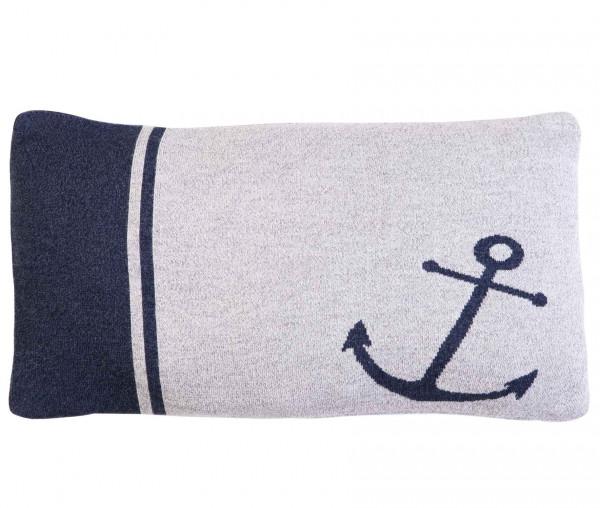 Tony Brown maritimer Kissenbezug 30 x 50 cm Anker grau/blau
