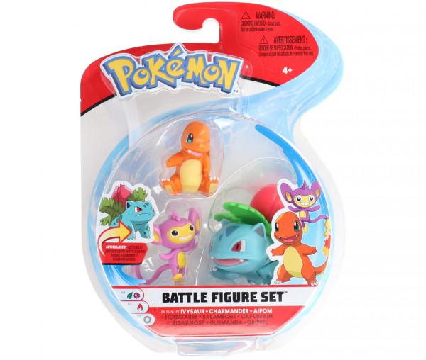 Pokémon Battle Figure Set Bisaknosp, Glumanda & Griffel