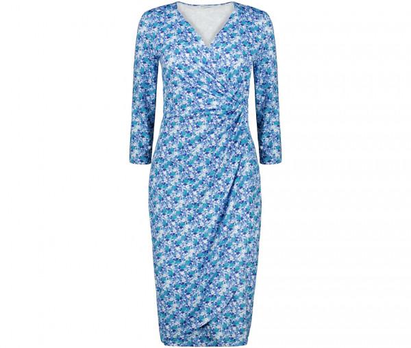 Julia Brown Damen Kleid in Wickeloptik Blümchen