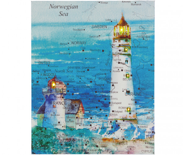 Tony Brown LED-Bild Leuchtturm mit Frachthafen
