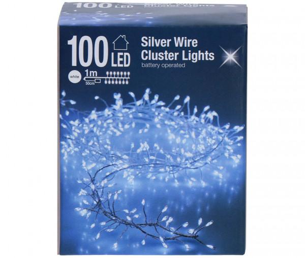 Silberdraht-Lichterkette Cluster 100 LED