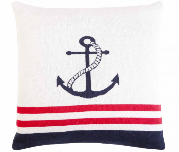 Tony Brown maritimer Kissenbezug 45 x 45 cm Anker/Streifen weiß/rot