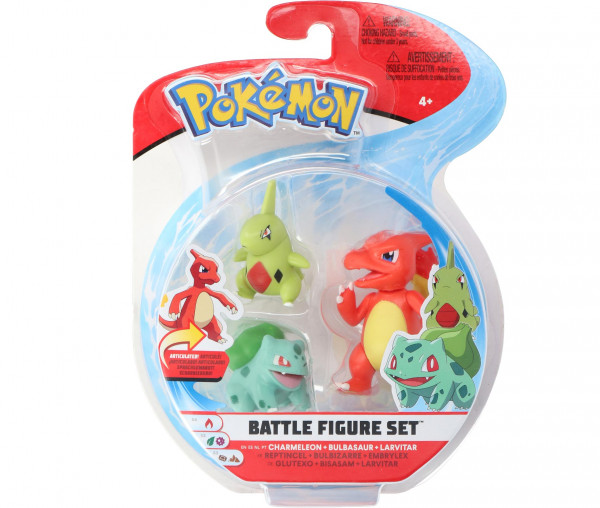 Pokémon Battle Figure Set Glutexo, Bisasam & Larvitar