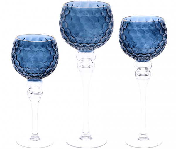 Dekogläser mit Goldrand 3er Set blau