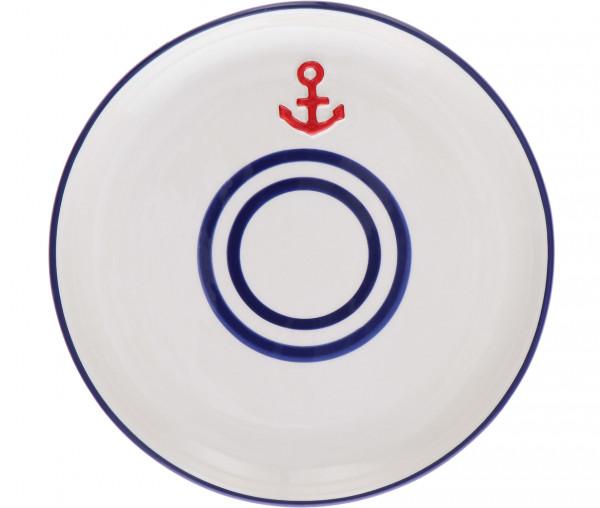 Tony Brown Frühstücksteller rot/blau Anker