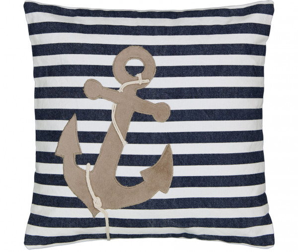 Tony Brown maritimes Kissen 45 x 45 cm Anker/Streifen blau/weiß