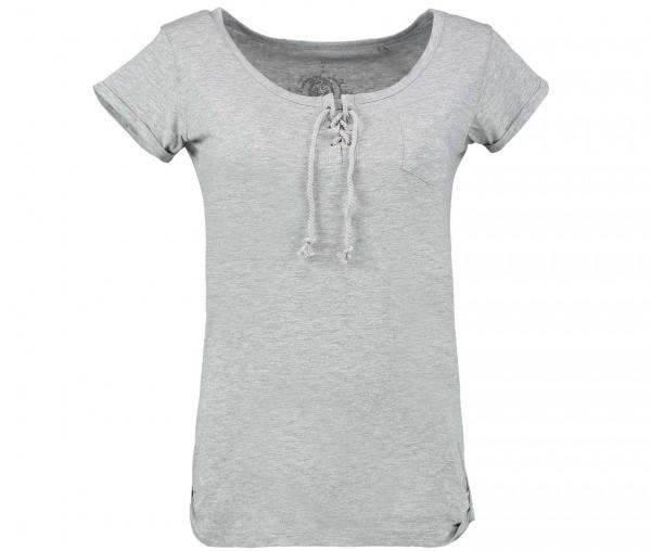 Julia Brown Damen T-Shirt mit Kordel Unifarben