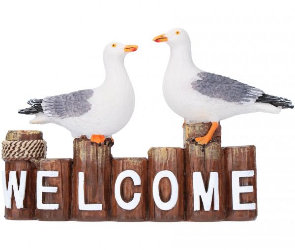 Tony Brown Möwen mit Welcome-Schriftzug