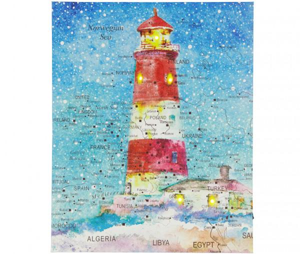 Tony Brown LED-Bild Leuchtturm rot 40 x 50 cm