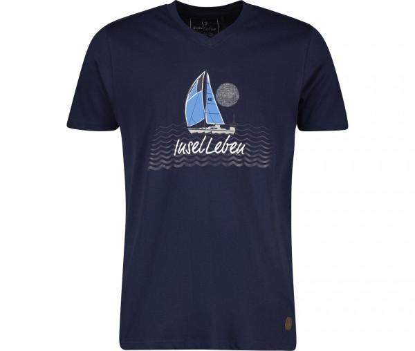 InselLeben Herren T-Shirt Fred V-Neck Segelboot