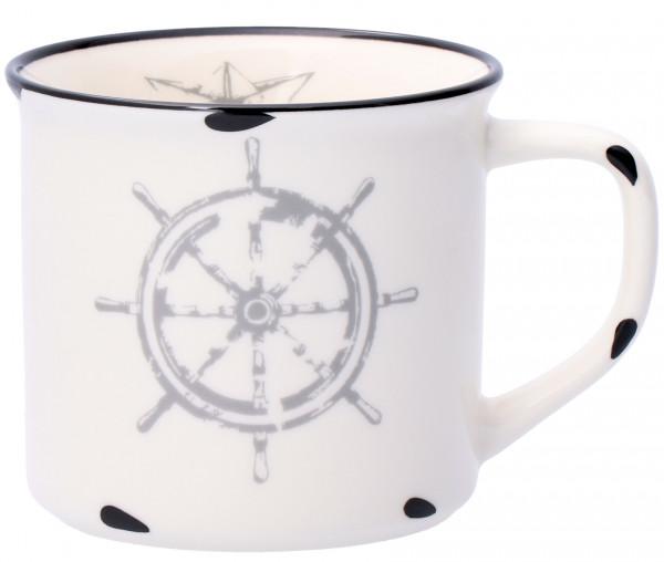 Tony Brown Kaffeebecher 500 ml in Emaille-Optik Steuerrad