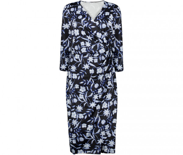 Julia Brown Damen Kleid in Wickeloptik Blumen