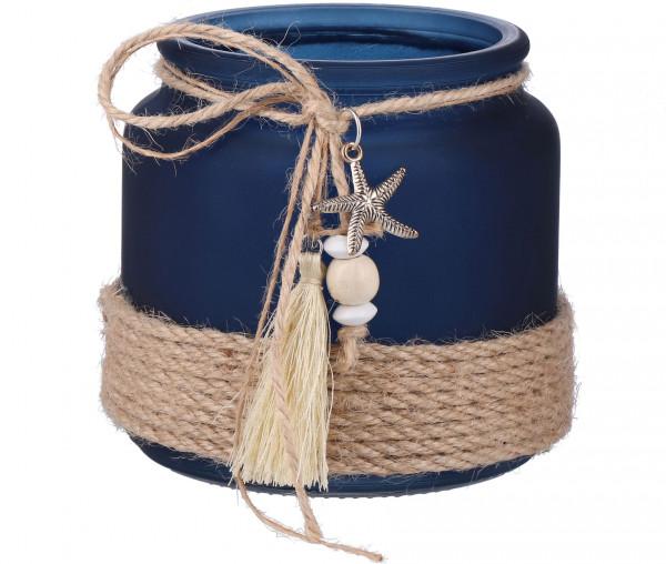 Blauer Teelichthalter mit Deko