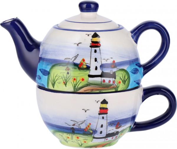 Tony Brown Teekanne mit Tasse Leuchtturm