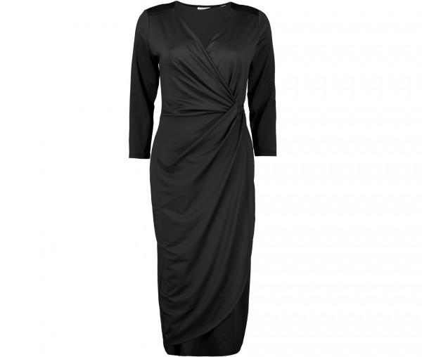 Julia Brown Damen Kleid in Wickeloptik Unifarben