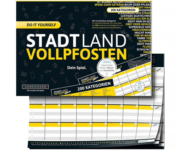 STADT LAND VOLLPFOSTEN® - Do it yourself Edition - Dein Spiel.